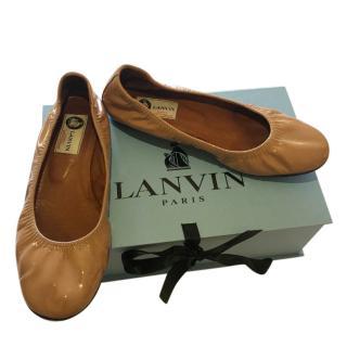 Lanvin Nude Stretch Patent Ballerinas