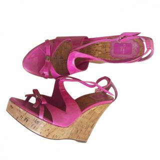 Dior Fuchsia Patent Leather Wedge Sandals