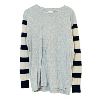 Dries Van Noten Merino Wool Blend Striped Sleeve Knit Top