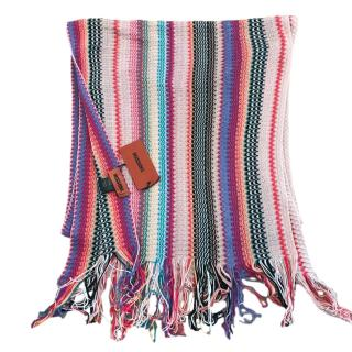 Missoni Pink Striped Zig Zag Knit Scarf