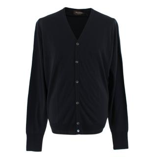 Hardy Amies Black Merino V-Neck Cardigan