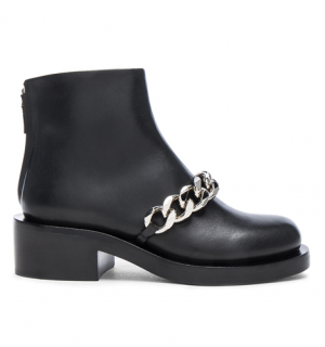 Givenchy Black Leather Sarah Chain Link Boots