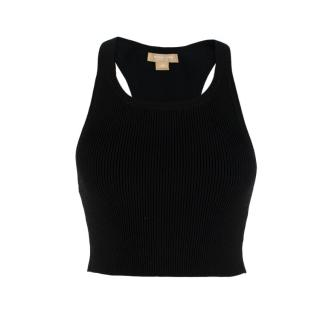 Michael Kors Collection Black Cropped stretch-knit top