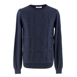 JW Anderson Navy Knitted Jumper with Tool Stitch Detail