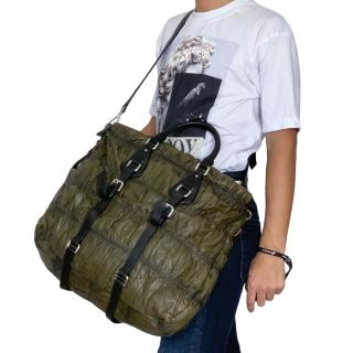 Prada  XL Olive Nappa Leather Bag