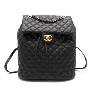 Chanel Black Lambskin Quilted Backpack