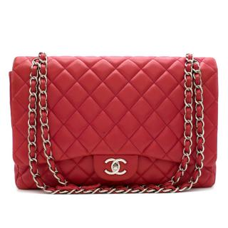 Chanel Pink Maxi Classic Single Flap Bag