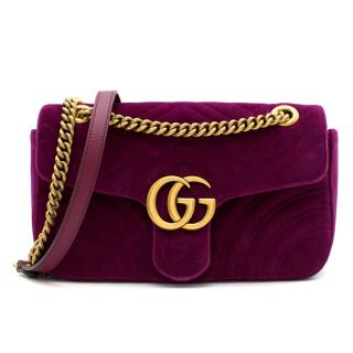 Gucci Purple Velvet Marmont Quilted Shoulder Bag
