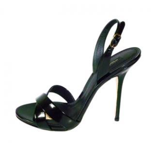 Dolce & Gabbana Black Patent Leather Sandals