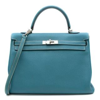 Hermes Blue Jean Togo Leather Kelly 35 PHW