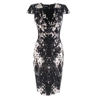 Alexander McQueen Printed Fitted Draped Dress