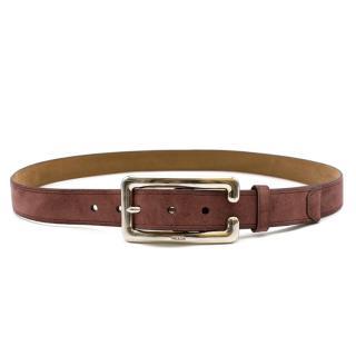 Prada Slim Suede Leather Belt