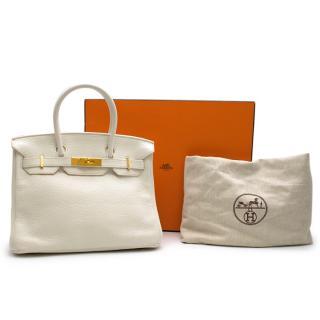 Hermes White Clemence Leather Birkin 30 GHW