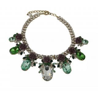 Dolce & Gabbana Floral Crystal Collar Necklace