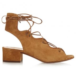 Saint Laurent Tan Lace-Up Seude Sandals