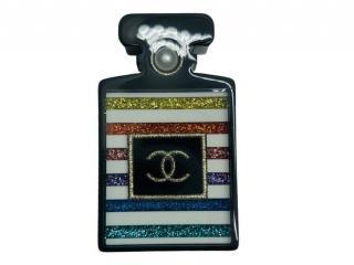 Chanel Resin Striped Perfume Bottle Brooch
