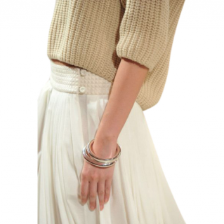 Hermes ivory pleated cotton midi skirt