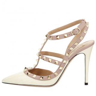 Valentino Rockstud Cream T-Bar Sandals