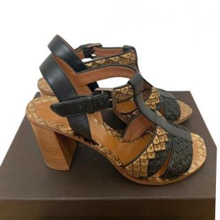 Bottega Veneta Black & Gold Intrecciato Leather Sandals
