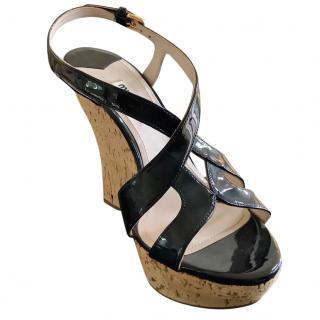 Miu Miu Black Patent Cork Wedge Sandals