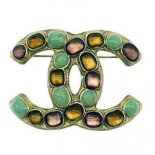 Chanel Gripoix CC Crystal Pin Brooch