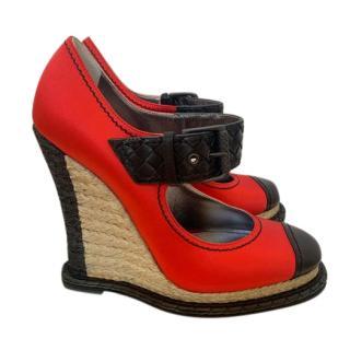 Bottega Veneta Red Satin Espadrille Wedge Sandals