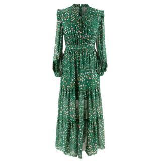 Three Floor Green Floral Ruffle Neck Hansen Maxi Dress