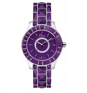 Christian Dior Christal Purple & Diamond Dial Watch