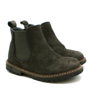 Bonpoint kids brown suede chelsea boots