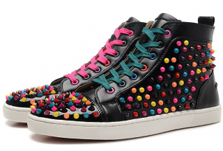 Christian Louboutin Black Multicolor Spikes Louis High-Top Trainers