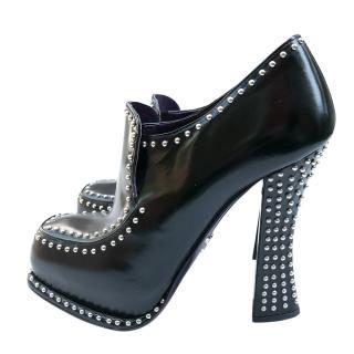 Prada Black Leather Chloe Studded Pumps