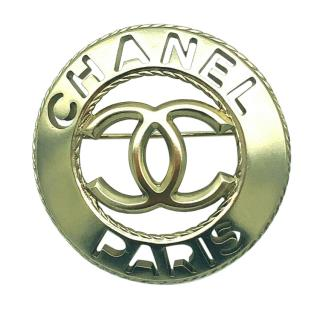 Chanel Brushed Gold Tone Round Cut-Out Brooch