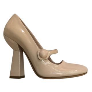 Miu Miu Structured Heel Mary-Jane Patent Pumps