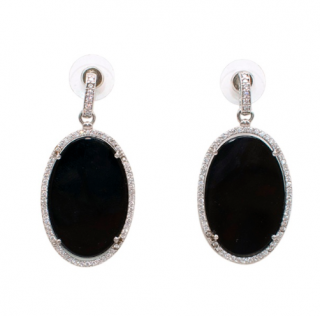 Bespoke Black Resin Crystal Drop Earrings
