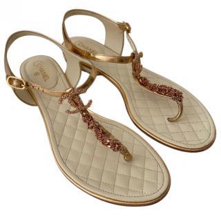 Chanel CC Chain Thong Gold Sandals