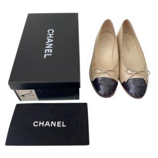 Chanel Two-Tone Patent Ballerinas