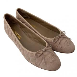Chanel Taupe Suede Ballerina Flats