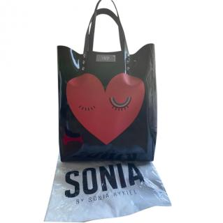 Sonia by Sonia Rykiel Black Heart Print Tote Bag