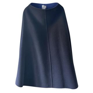 Paul Smith Blue Virgin Wool Reversible Cape