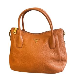 Prada Orange Grained Leather Tote Bag