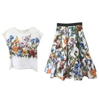Dolce & Gabbana Floral Print Skirt & T-Shirt