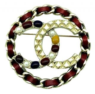 Chanel Round Crystal Embellished Quilted CC Pin Brooch