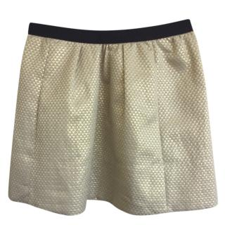 Ganni Brocade Gold Metallic Mini Skirt