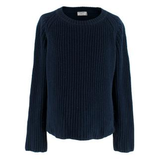 Frame Cable Knit Navy Ribbed Jumper