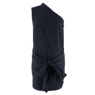 Stella McCartney Navy One-Shoulder Cotton-Poplin Wrap Top