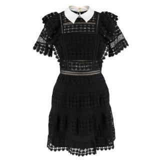 Self-Portrait Embroidered Black & White Mini Dress