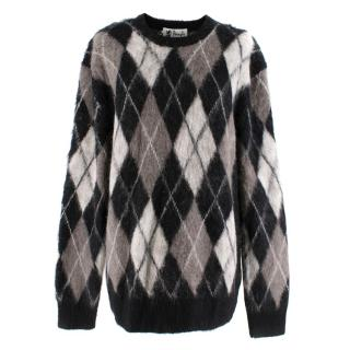 Pringle Reissued Black Argyle Wool Monochrome Jumper