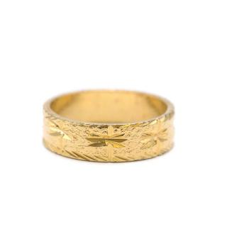 Bespoke Gold Tone Textured Carved Band Ring