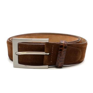 Pal Zileri Mens Suede and Leather Belt