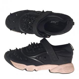 Dior Pink & Black Crystal Embellished Fusion Sneakers